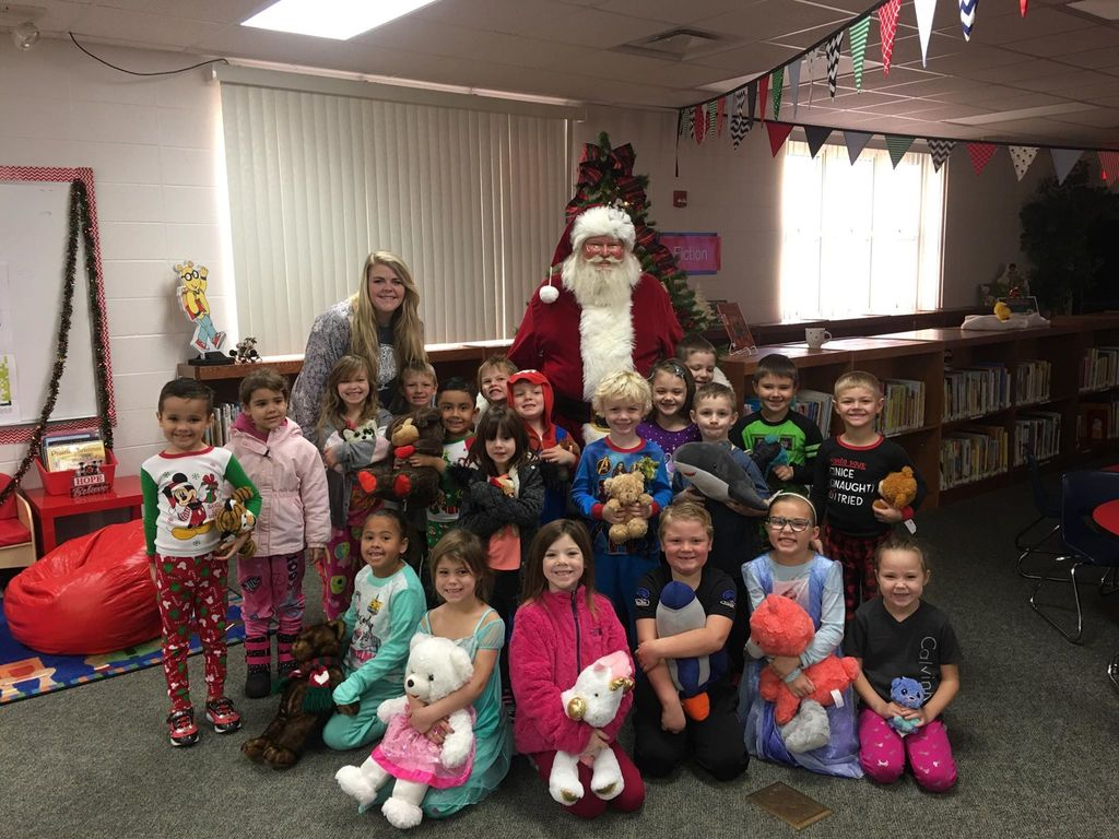 Students with Santa.